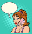 serious woman talking on phone vector image vector image
