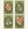 set casino poker cards with floral ornate vector image vector image