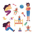 set depressed tired women and crying babies and vector image vector image
