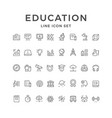 set line icons education vector image vector image