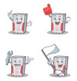 set of computer character with foam finger flag vector image vector image