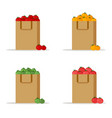 set of paper bagpackage red yellow green tomatoes vector image vector image