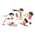 set of school kids in education concept vector image