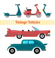 set vintage vehicles retro transport cillection vector image