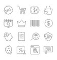 shopping and e-commerce pack line icons set for vector image vector image