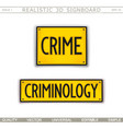 signboard design crime criminology vector image vector image