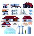 smart farming orthogonal flat set vector image vector image