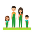 smiling family in garden jumpsuits flat vector image