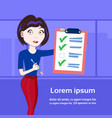 successful business woman holding done checklist vector image vector image