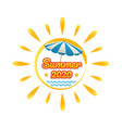 summer beach banner with sun vector image vector image