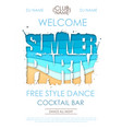 summer disco party typography poster vector image vector image