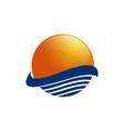 sun over sea waves and sea logo icon vector image