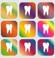 tooth icon Nine buttons with bright gradients for vector image vector image
