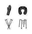 trauma treatment glyph icons set vector image