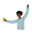 young african american man celebrating an vector image vector image