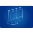 3d model of the monitor on a blue vector image vector image