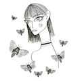 Abstract Girl with Butterflies vector image vector image