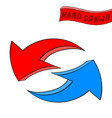 arrows red and blue recycle symbol hand drawn vector image vector image