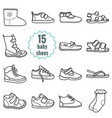 baby shoes icons setshoes for summer and winter vector image vector image