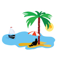 beach with palm tree and sea and summer idyll vector image vector image