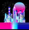 beautiful trendy illuminated city at night with vector image