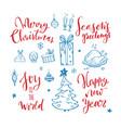 big set christmas design doodle elements vector image vector image