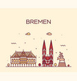 bremen skyline germany city linear style vector image vector image