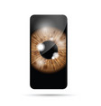 brown realistic eyeball on a cell mobile phone vector image vector image