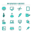 Business and office blue fill icons set vector image vector image