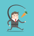 businessman chasing carrot vector image vector image