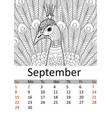 calendar september month 2019 antistress coloring vector image vector image