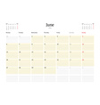 Calendar Template for June 2016 Week Starts Monday vector image