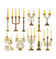 candelabrum or candlestick with burning candle set vector image vector image