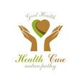 caring hands holding heart alternative medicine vector image vector image