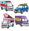 cartoon of medium van car set vector image vector image