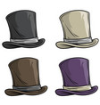 cartoon old gentleman top hat icon set vector image vector image