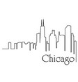 chicago city one line drawing vector image vector image