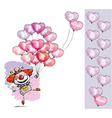 Clown with Heart Balloons Saying Happy Anniversary