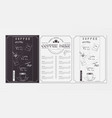 coffee menu design vector image vector image