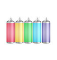 colorful spray can set 3d aluminium vector image