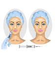 cosmetic procedure woman before and after vector image vector image