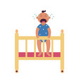 crying bastands holding side cot flat vector image
