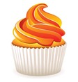 cupcake with orange cream vector image vector image