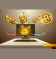 digital bitcoin spread from computer vector image