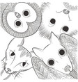 doodle bat cat owl and hedgehog head night vector image vector image
