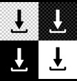 download icon isolated on black white and vector image vector image