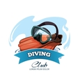 emblem with Water mask and red flippers vector image vector image