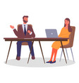 executive businessman talking with woman sitting vector image vector image