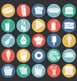 fasfood icons set on color circles black vector image