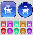 Fire engine icon sign A set of twelve vintage vector image